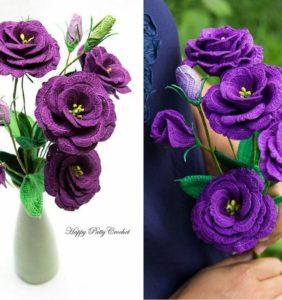 Flores Moradas, Malvas y Lilas en Crochet