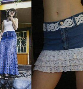 Cambia el look de tu falda vaquera
