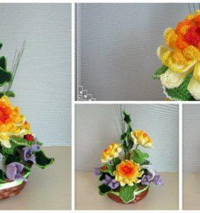 14 Composiciones florales fascinantes en crochet