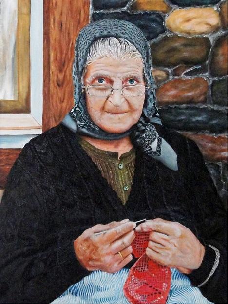 Abuelita haciendo crochet-autor desconocido