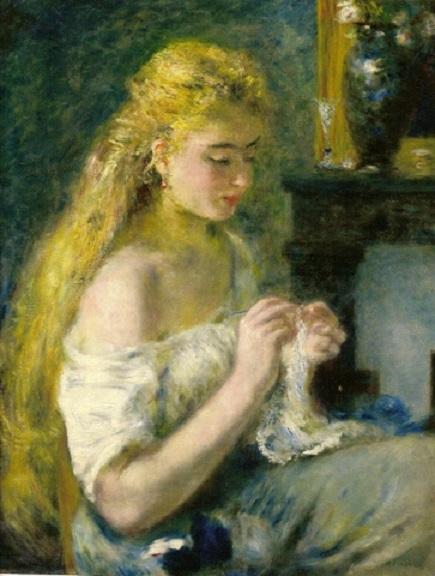 Joven irlandesa haciendo crochet. Pintura de William-Adolphe Bouguereau 1889.