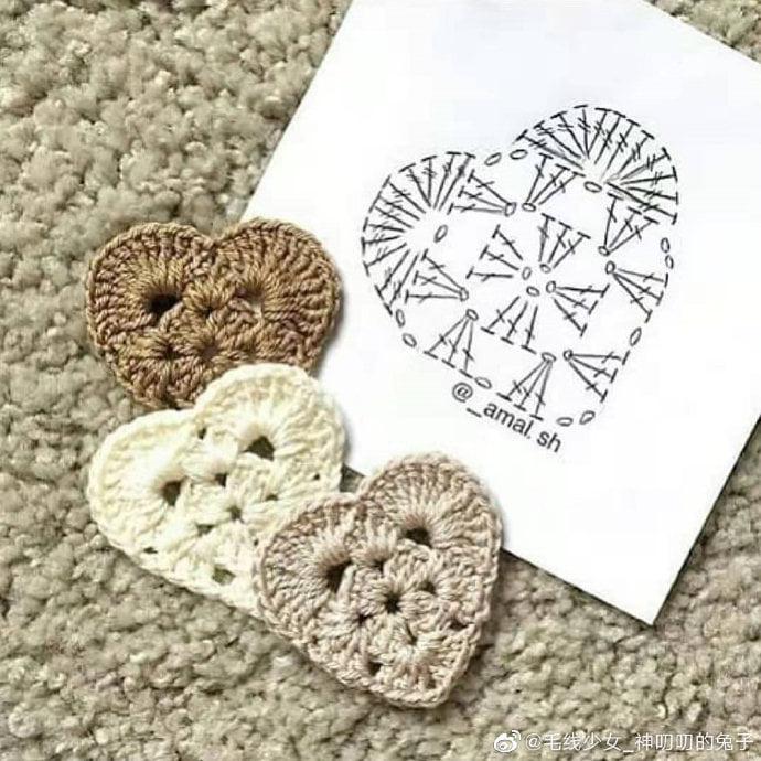 Corazón de crochet para aplique con gráfico
