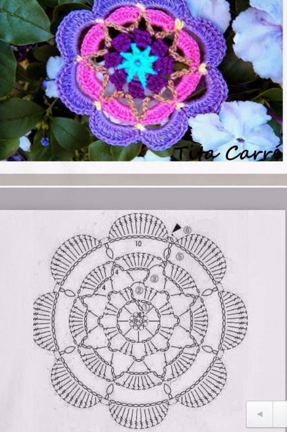 Granny square con forma de flor