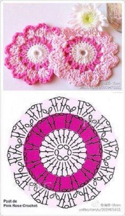 Lindas flores con su gráfico en crochet