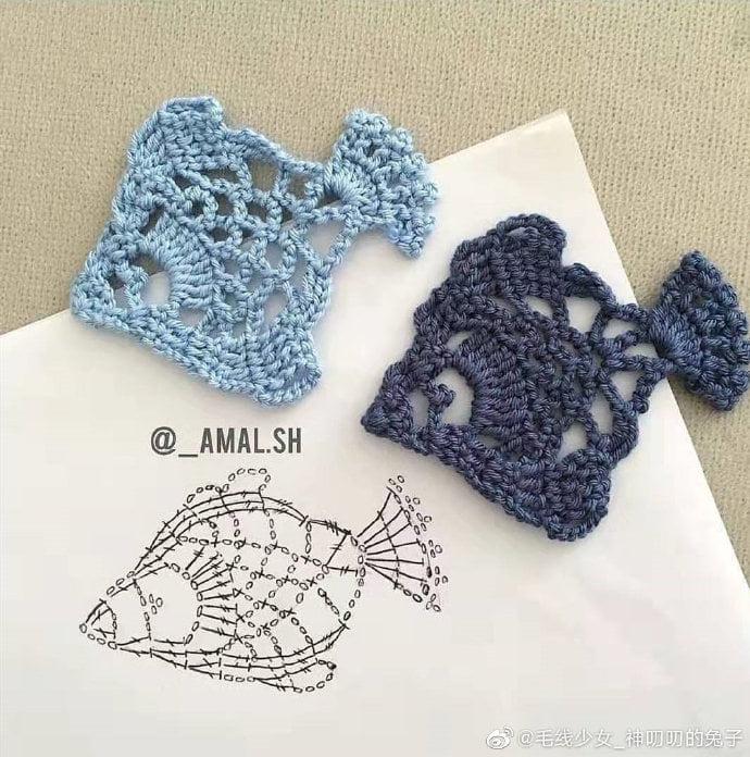 Pececito en crochet con gráfico y muestras