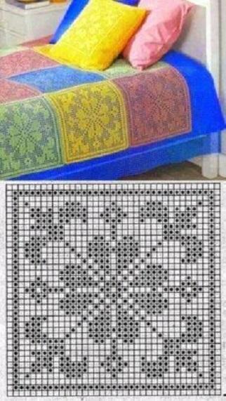 Esquema para hacer cuadrados en crochet filet