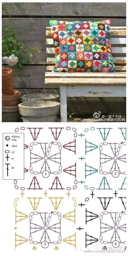 Gráfico para hacer grannys pequeños para un cojín precioso