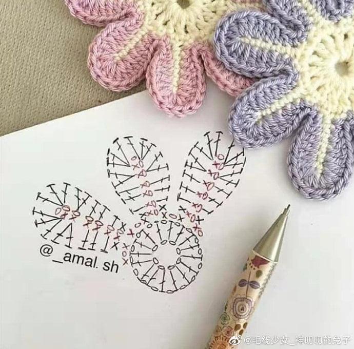 Flores, apliques con su gráfico para hacerlas en crochet