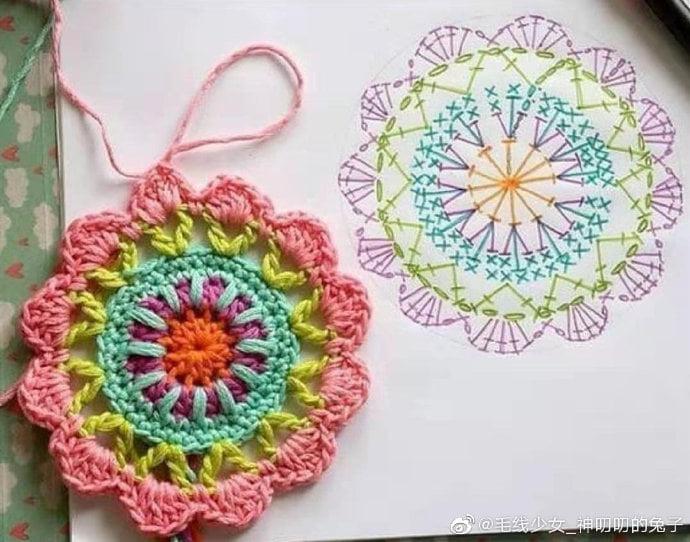 Bonito mandala de crochet con gráfico
