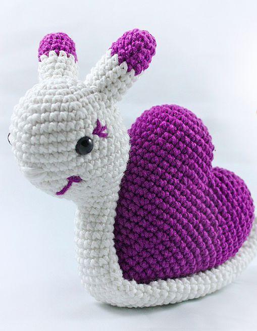 caracol crochet san valentin