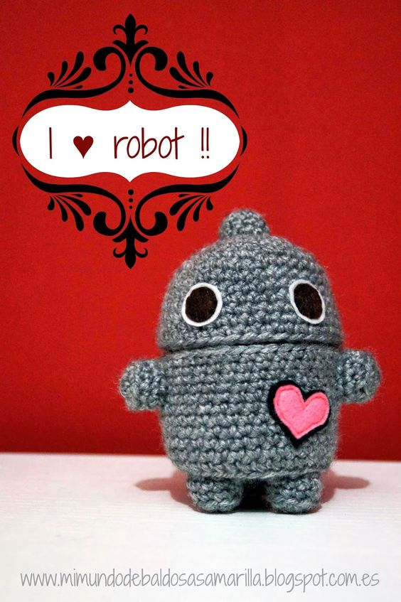 Un robot en crochet para el día de los enamorados