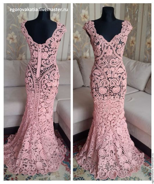 vestido novia rosa crochet