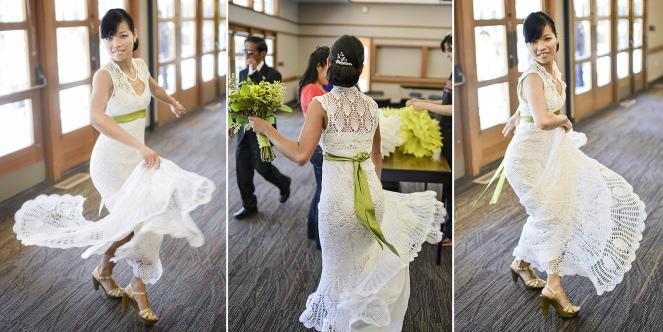 Bailando el día de la boda con su vestido de ganchillo