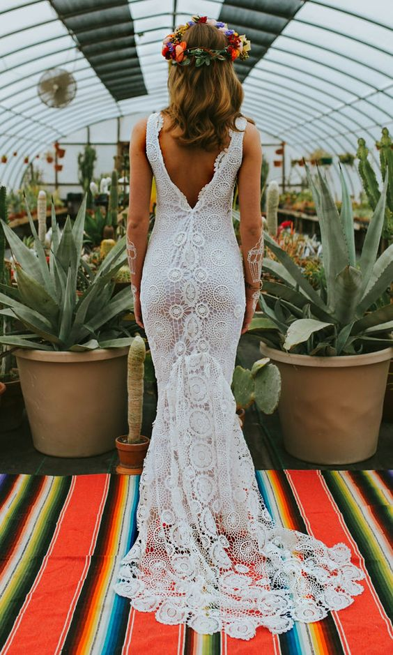 vestido de novia, detalle trasero en crochet