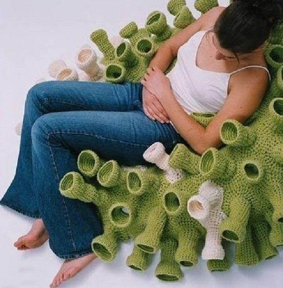 Asiento de coral hecho en crochet