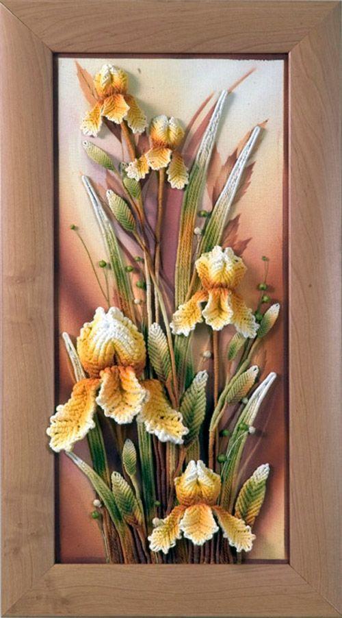 cuadro de flores en crochet