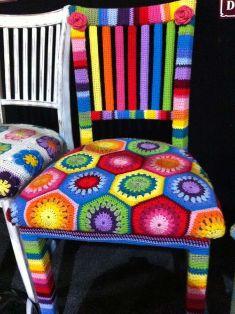 silla forrada con crochet