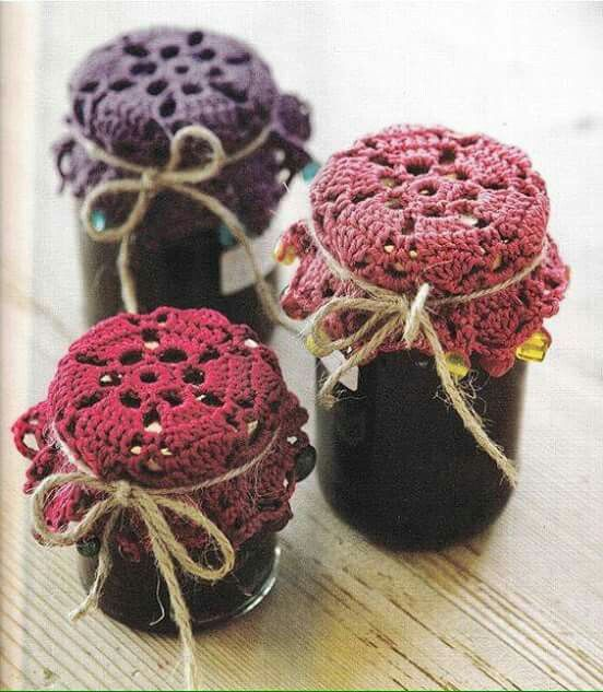 Tarros decorados con crochet