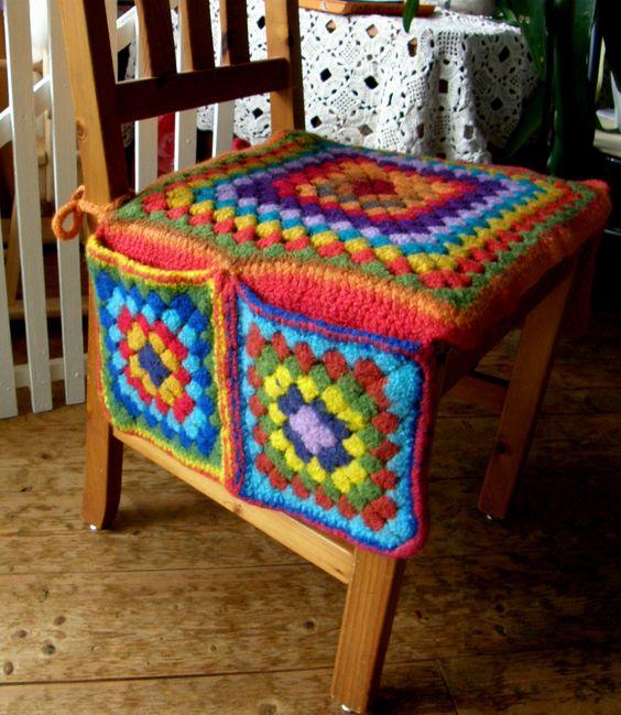 silla con cojín y funda pongo todo en crochet