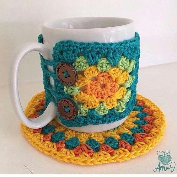 protector de taza en crochet