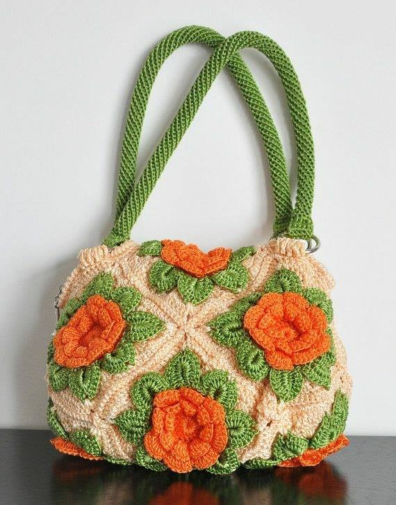 bolsos de moda cuadraditos de la abuela en crochet