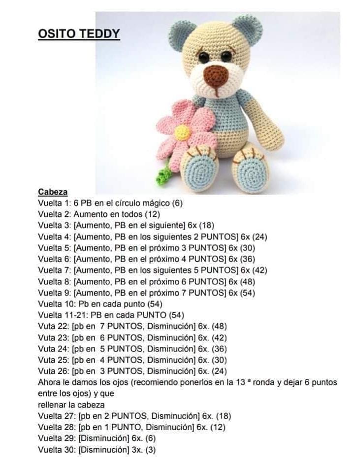 Osito Teddy de Primavera - Patrón en castellano