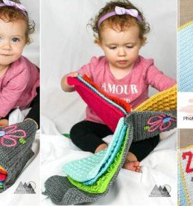 Libros sensoriales en crochet para los bebés