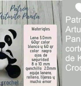 Arturito Panda patrón cortesía de Kalú Crochet