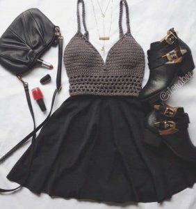 Vestidos con corpiños de crochet y falda de tela